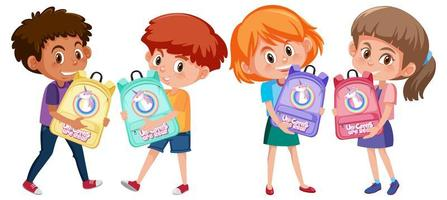 Satz verschiedene Kinder, die niedlichen Rucksackkarikatur halten