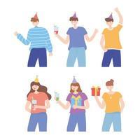 junge Leute mit Partyhüten und Geschenken