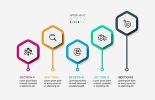 hexagon pins infographic ikonuppsättning