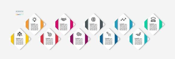 diamant form infographic steg ikonuppsättning