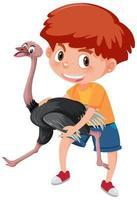 Junge, der niedliche Tierzeichentrickfilmfigur hält vektor