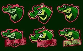 krokodil maskot set vektor