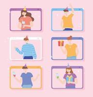 uppsättning människor som festar online vektor