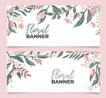 samling av blommiga banners