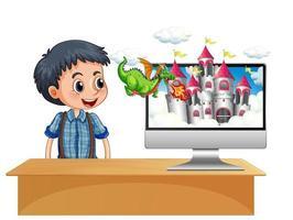 pojke bredvid dator med slott på skärmen vektor