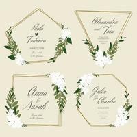 Blumenbanner für Hochzeit mit goldenen Rahmen vektor