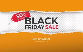 zerrissenes Papierbanner für schwarzen Freitag Verkauf vektor