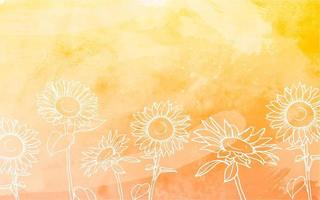 Sonnenblumen mit Aquarellhintergrund vektor