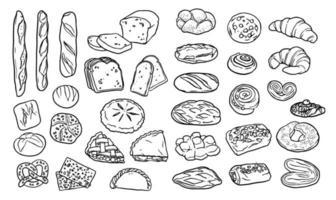 samling av handritade element för bageri