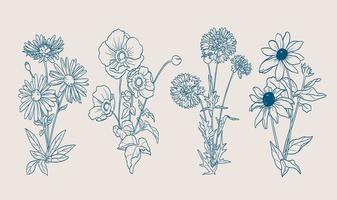 Herbstblumen mit handgezeichneten Umrissen vektor