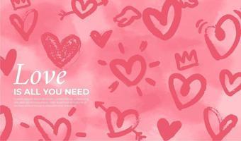Valentinstag Hintergrund mit handgezeichneten Herzen vektor