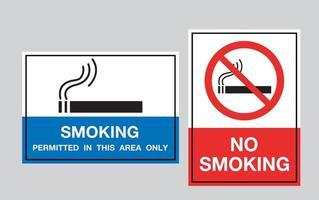 Rauchverbotsschild und Raucherbereich.