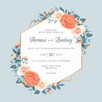 blommig geometrisk spara datum bröllop ram vektor