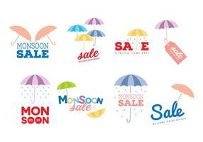 Monsun Sale vektor Etiketter