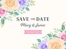 Speichern Sie das Datum Rose Blumen Karte vektor
