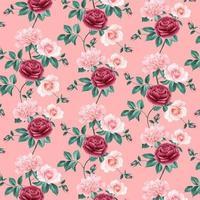 nahtloser Hintergrund mit rosa Blumen vektor