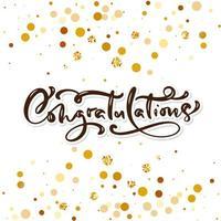 Grattis handskriven bokstäver för gratulationskort vektor