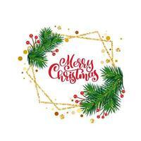 Frohe Weihnachten Winterurlaub Grußkartenrahmen vektor