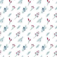 nahtloses Weihnachtsmuster von roten Beeren und Tannenzweigen