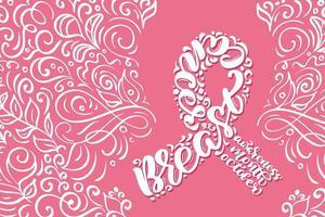 stilisiertes rosa Band mit Kalligraphie des Brustkrebsbewusstseins vektor