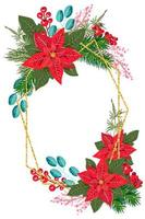 god jul semester ram för gratulationskort vektor