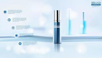 kosmetisk flaska på suddig blå bakgrund
