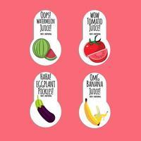 Etiketten von Obst und Gemüse für Säfte