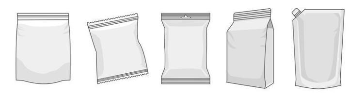 Umrissverpackungsset für Plastikbeutelkappen vektor