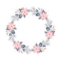 Weihnachtsvektorkranz mit rosa Blumen vektor