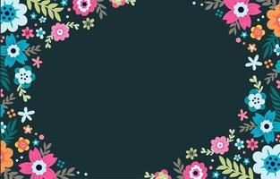 bunter Blumenrahmenhintergrund vektor