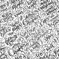 sömlösa mönster för jul med blomstra kalligrafi vektor