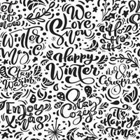 sömlösa mönster för jul med blomstra och kalligrafi vektor