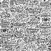 nahtloses Muster für Weihnachten mit Schnörkel und Kalligraphie vektor