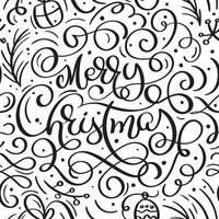 sömlösa mönster för jul med blomstra och kalligrafi