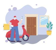 Online-Lieferung mit Motorrad-Kurierdienst vektor