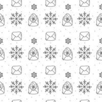 Schneeflocke und Umschlag Monoline Weihnachtsmuster vektor