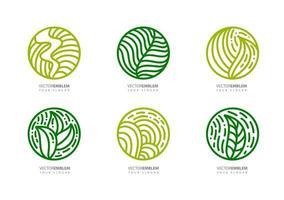uppsättning runda bioemblem i en cirkulär linjär stil