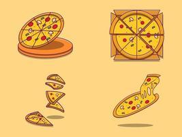 uppsättning söta tecknade pizzor vektor