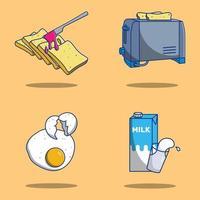 uppsättning av söta tecknade frukostmat och föremål