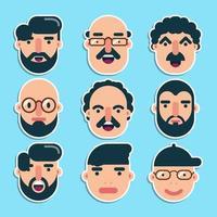 uppsättning söta manliga ansikten platt design vektor