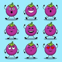 uppsättning söta tecknade poser av mangostan karaktärer