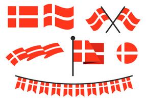 Wohnung Dänische Flagge Vektor