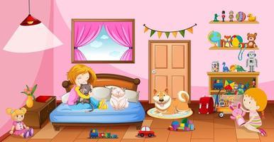 flickor som leker med sina leksaker i rosa sovrum