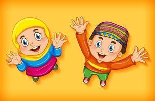 glada muslimska barn från flygfoto vektor