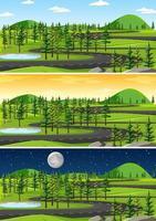 Landschaftsszene zu verschiedenen Tageszeiten