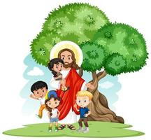 Jesus med en barngrupp tecknad chracter set