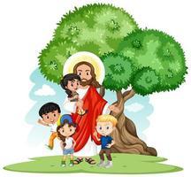 Jesus mit einem Kindergruppen-Cartoon-Zeichensatz