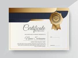 Premium-Zertifikatvorlage in Gold und Schwarz vektor
