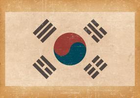 Südkoreanische Flagge auf Grunge Hintergrund vektor