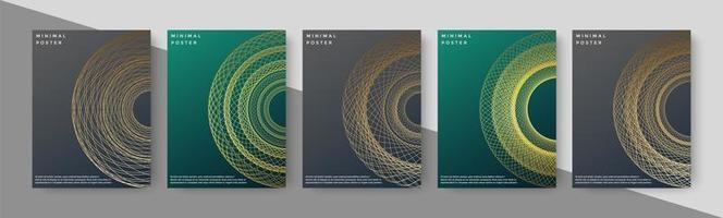 Luxusbuchumschläge mit abstrakter Liniengeometrie vektor
